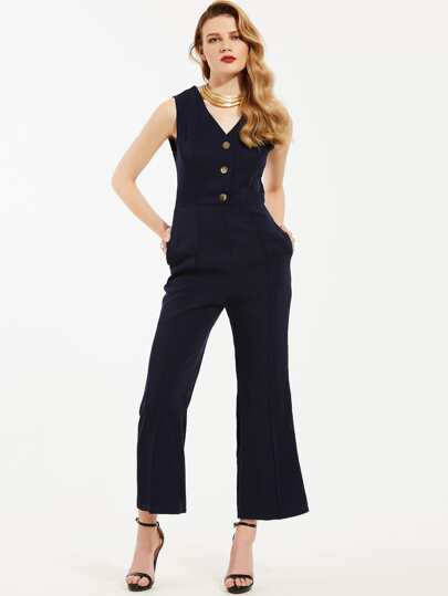 Single Breasted Zipper Back Jumpsuit