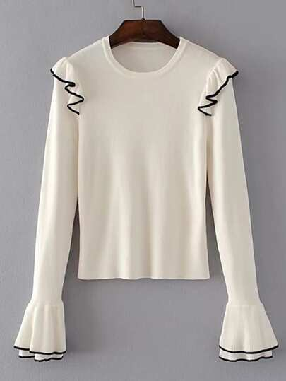 Layered Bell Cuff Frill Trim Sweater
