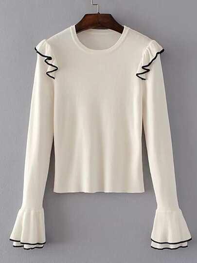 Sweater poignet cloche à étages découpé avec des plis