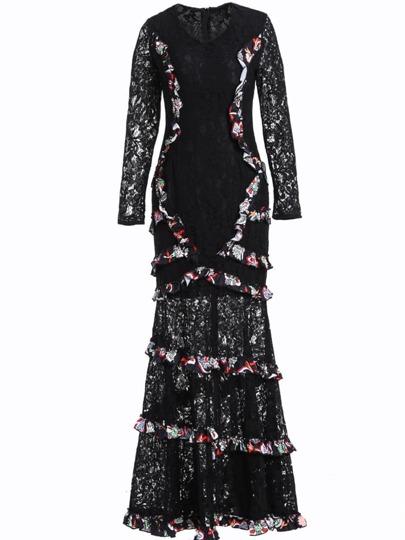 V Neck Flounce Print Lace Dress