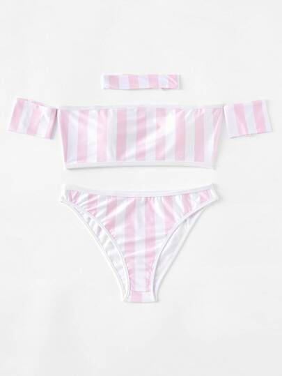 Block Striped Off The Shoulder Bikini Set With Choker