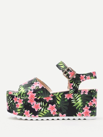 Flower Print Platform Wedge Sandals