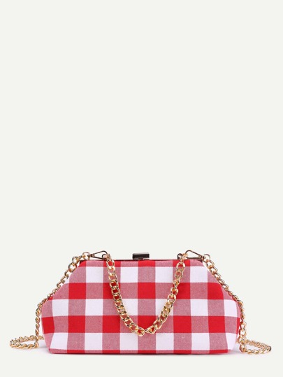 Gingham Print Canvas Chain Bag