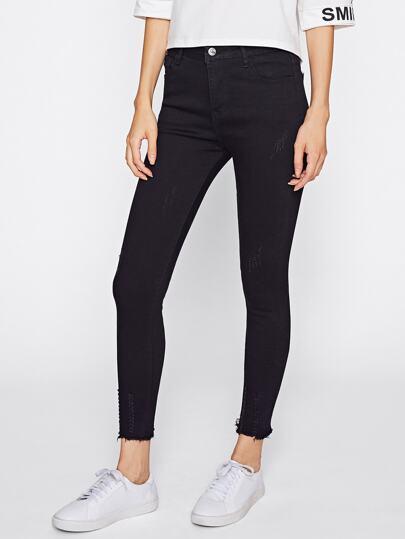 Skinny Jeans mit ursprünglichem Saum
