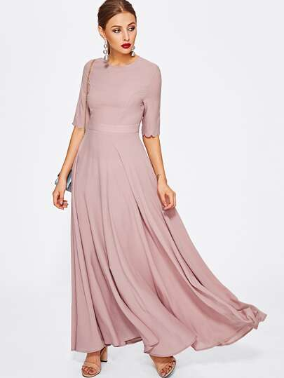 Half Sleeve Fit & Flare Full Length Dress