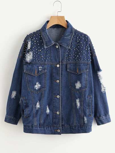 Destroyed Beaded Detail Denim Jacket