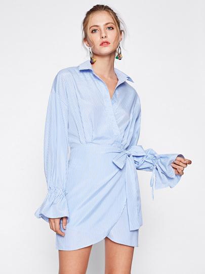 Drawstring Bell Cuff Surplice Wrap Shirt Dress