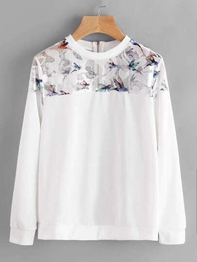 Sweat-shirt contrasté à maille avec le zip