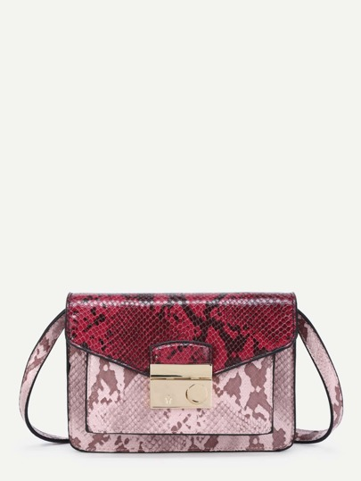 Two Tone Snakeskin Print PU Crossbody Bag