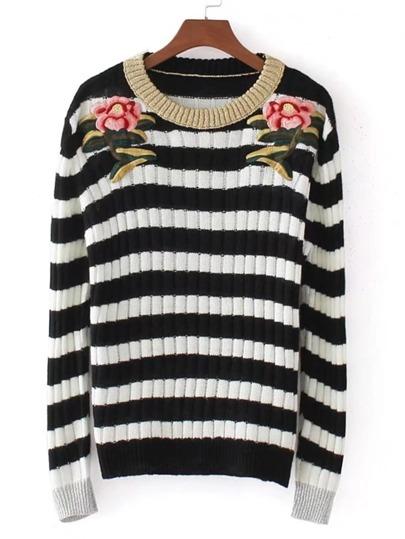 Sweater brodé des roses à rayures