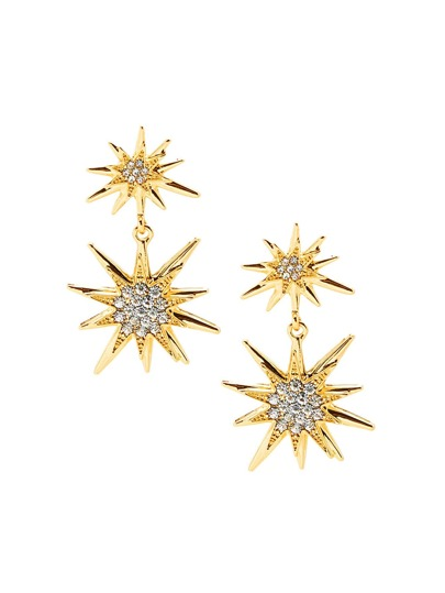 Rhinestone Double Star Anise Stud Earrings