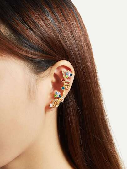 Rhinestone Decorated Charm Ear Climber 1pc