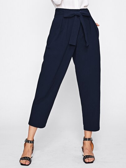 Bow Tie Waist Box Pleated Peg Pants