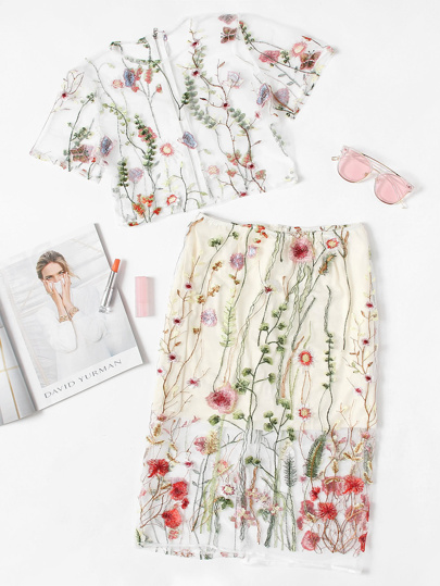 Botanical Embroidered See-Through Top With Skirt