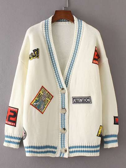 Drop Shoulder Seam Patch Embroidery Cardigan