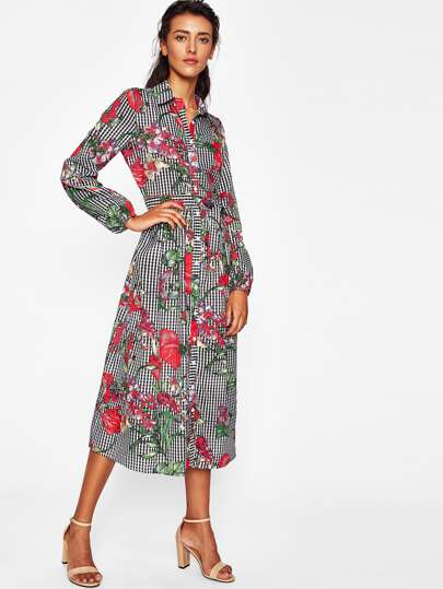 Self Belted Mixed Print Shirt Dress