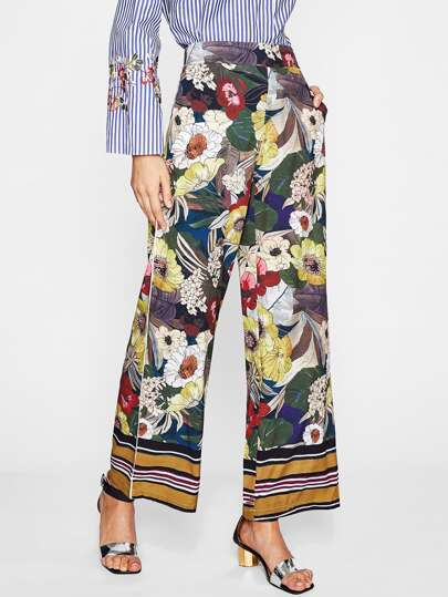 Calico Print Wide Leg Pants