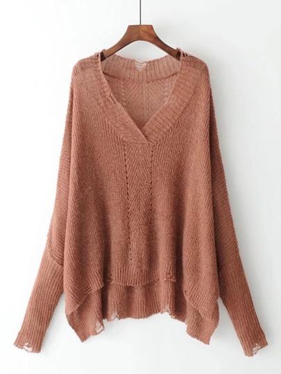 Suéter roto de cuello profundo