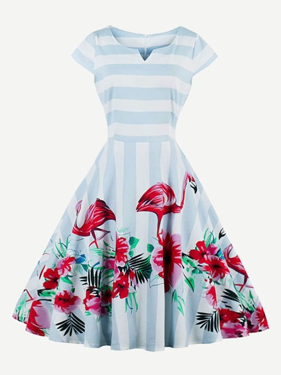 Contrast Striped Flamingo Print V Cut Swing Dress