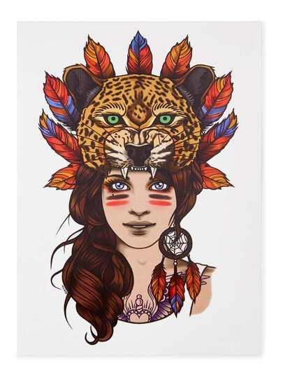Pegatinas de tatuaje con belleza y tigre