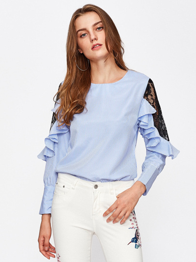 Contrast Lace Frill Trim Striped Blouse