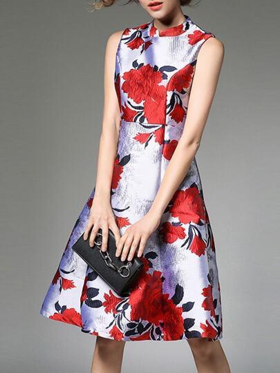 Flowers Jacquard A-Line Dress