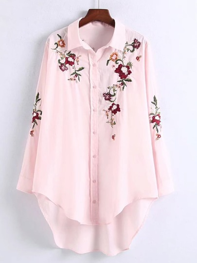 Flower Embroidery Dolphin Hem Blouse