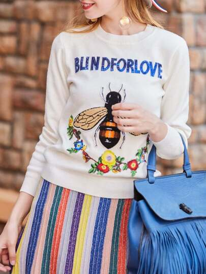Bee Flowers Letters Embroidered Sweater