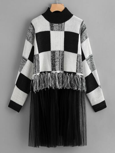 Mesh And Knot Fringe Trim Check Sweater