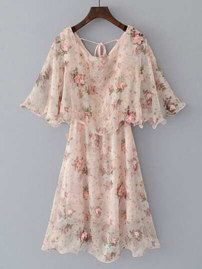 Flower Embellished Frill Trim Tie Back Chiffon Dress