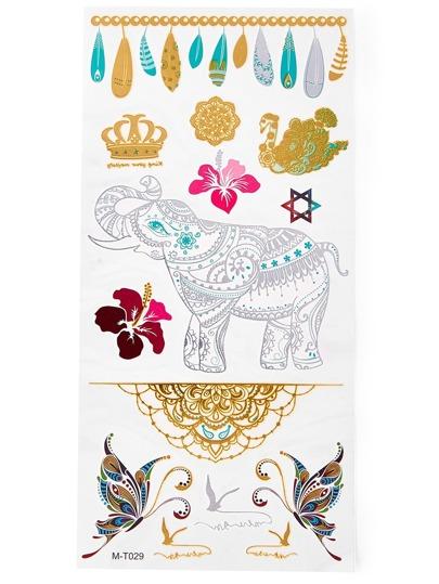 Pegatinas de tatuaje con mariposa y elefante