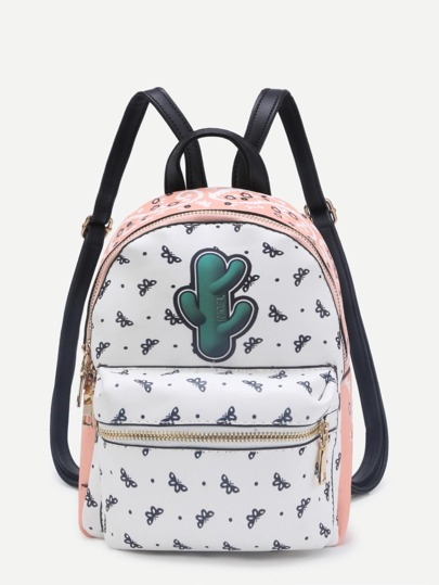Patch Detail Butterfly Print PU Backpack