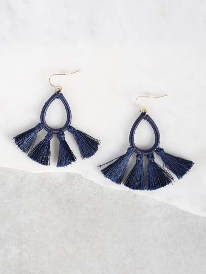 Hoop Drop Tassel Earrings ROYAL BLUE