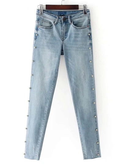 Bleach Wash Pearls Embellished Jeans