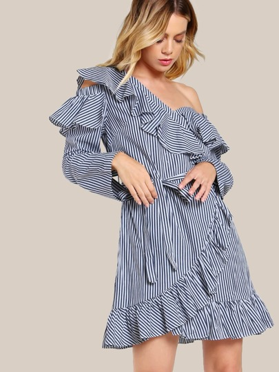 Striped Ruffle Front Dress NAVY