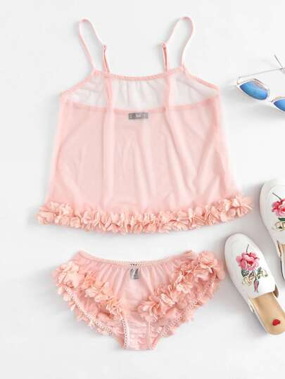 Flower Applique Mesh Cami Top And Panty Pajama Set