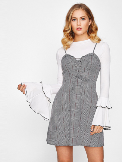 Grommet Lace Up Front Plaid Cami Dress