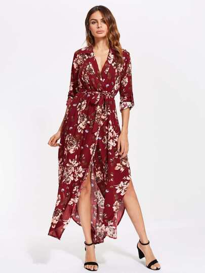 V Neckline Tie Waist Split Dress