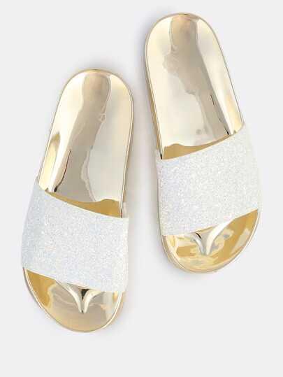 Irridescent Glitter Slides WHITE