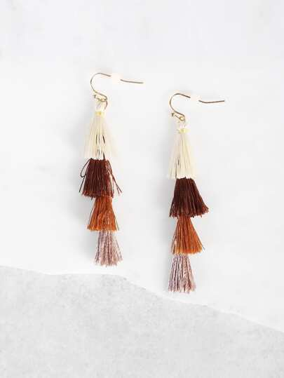 Ombre Tassel Earrings BROWN