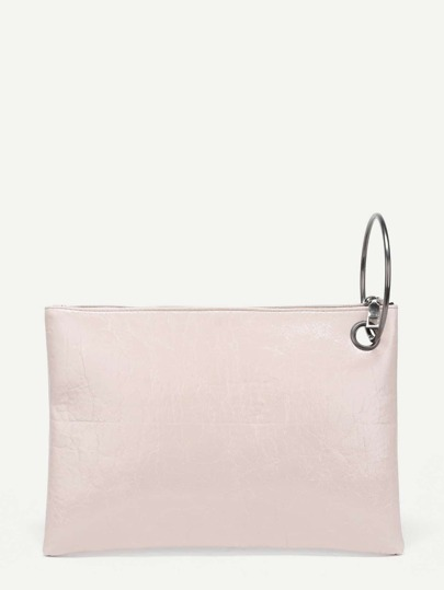 Ring Handle PU Clutch Bag