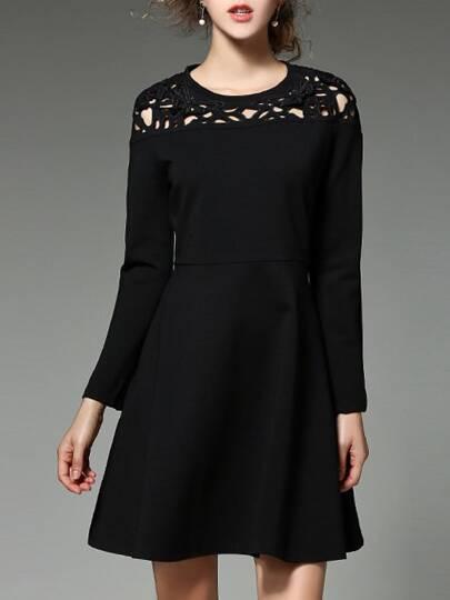 Crochet Hollow Out A-Line Dress