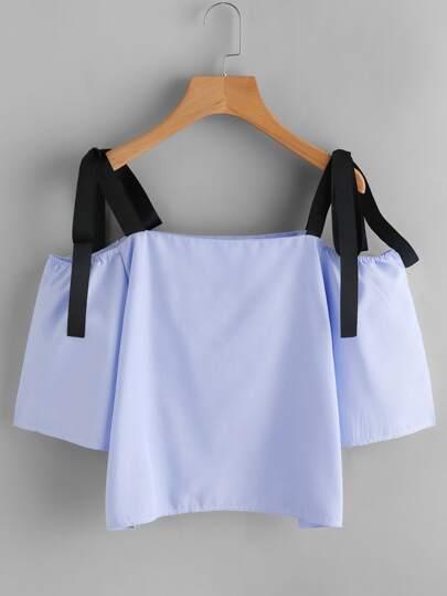 Contrast Bow Tie Strap Top