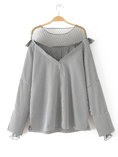 Contrast Mesh Vertical Striped Blouse