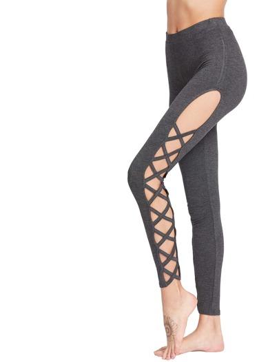 Dark Grey Cutout Lattice Detail High Waist Leggings
