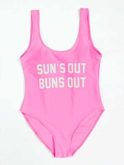 Slogan Print Low Back Swimsuit