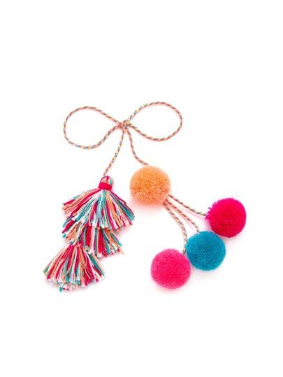 Tassel & Pom Pom Wrap Keychain