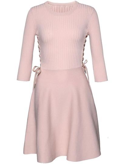 Lace Up Knit Combo Dress