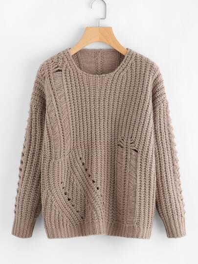 Pullover mit Riemendesign Detail und Öse