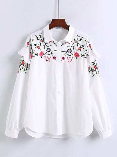 Flower Embroidery Ruffle Detail High Low Blouse